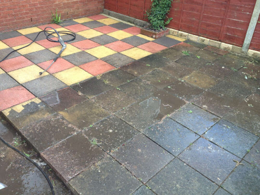 Steam cleaned patio
